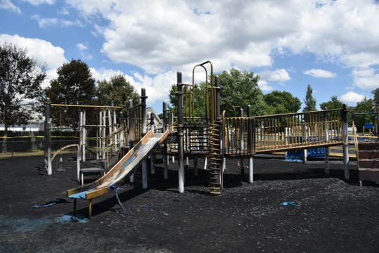 Damaged Matthew Jago School playground in the Sewaren section of Woodbridge.