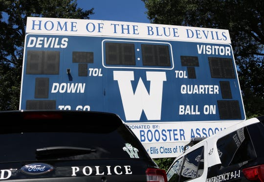 Westfield police vehicles display Blue Devil decals in support of Westfield High School student-athletes.