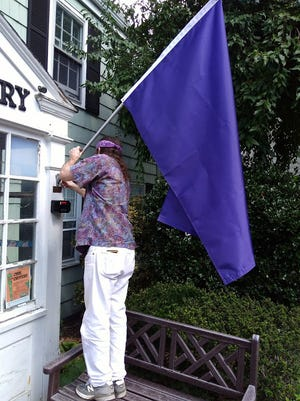Martin Carroll, a member of the Coalition to Save Watchung Library, posts the new purple flag at the entrance to the Watchung Library.
