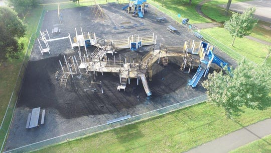 Aerial view of fire damage to the playground at the Matthew Jago School in the Sewaren section of Wodobridge