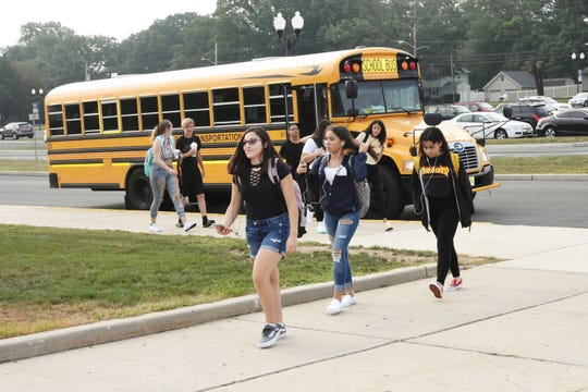 Students return to school on the East Brunswick Campus of the Middlesex County Vocational and Technical Schools.