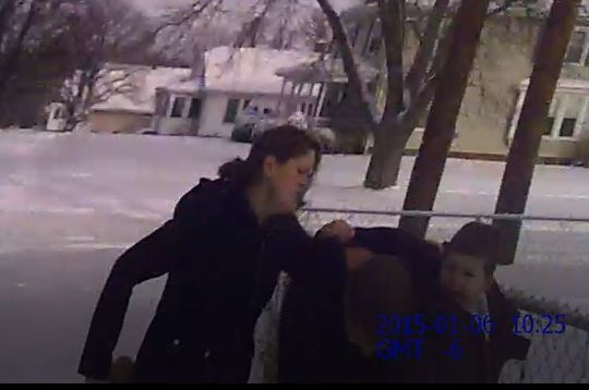 Autumn Steele moments before being shot Jan. 6, 2015. Witnesses said she was the aggressor in a domestic dispute involving a child custody matter.
