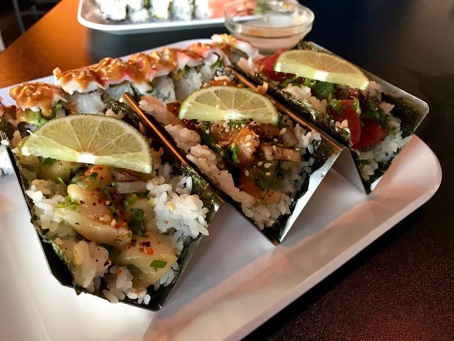 Sushi tacos at Fusion Bistro,