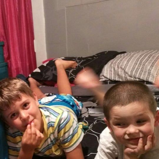 Autumn Steele's children Kai Schoff and Gunner Steele in June 2016