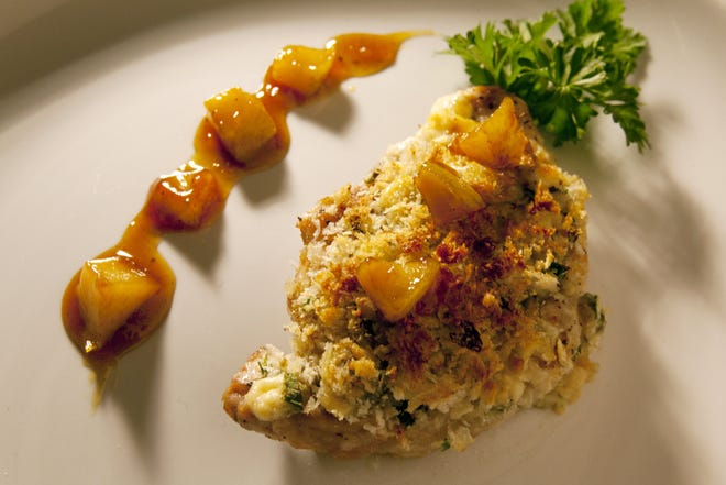 Pork with Blue Cheese Crust and Apricot Glaze