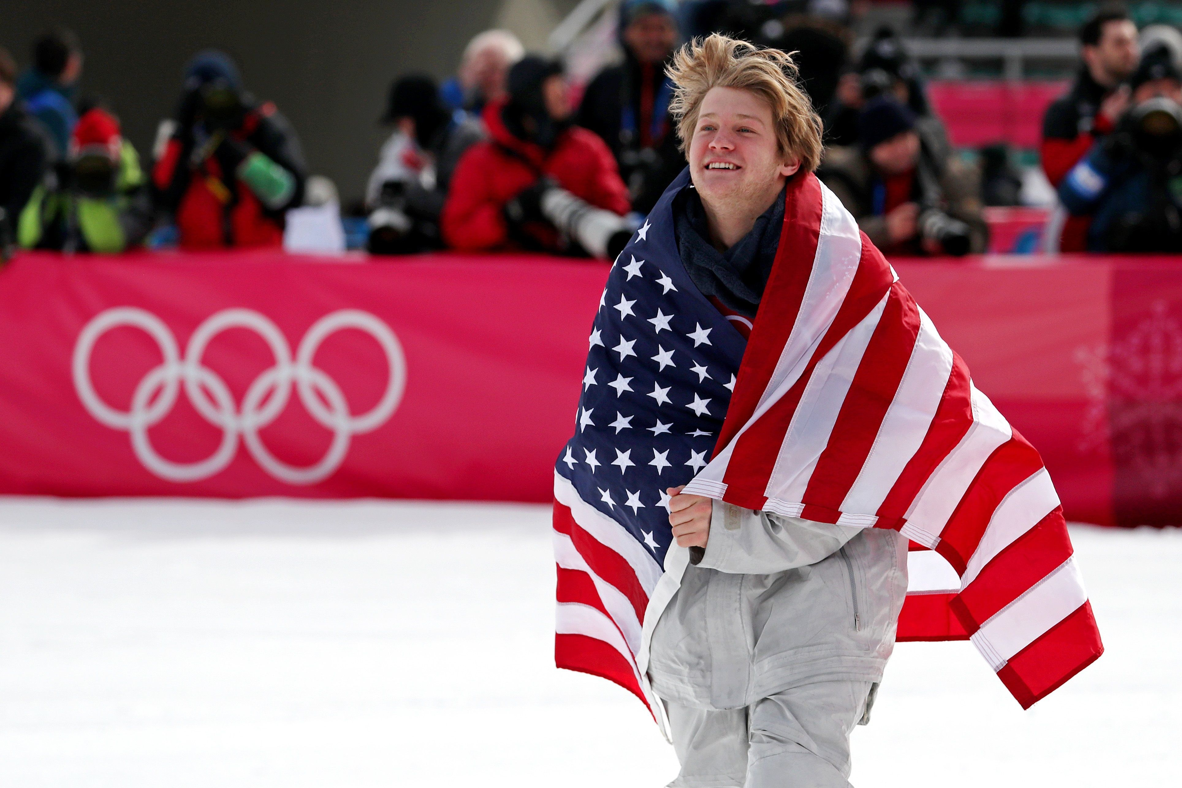 Kyle Mack celebrated this year after his Winter Olympics triumph.