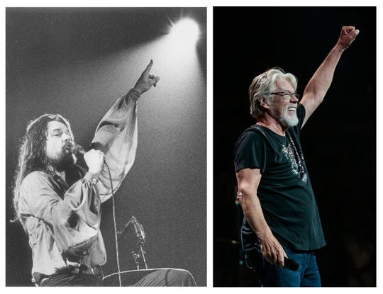 Bob Seger performing in Detroit in 1978 and in 2017. Detroit Free Press photos by Taro Yamasaki (left) and Junfu Han (right).