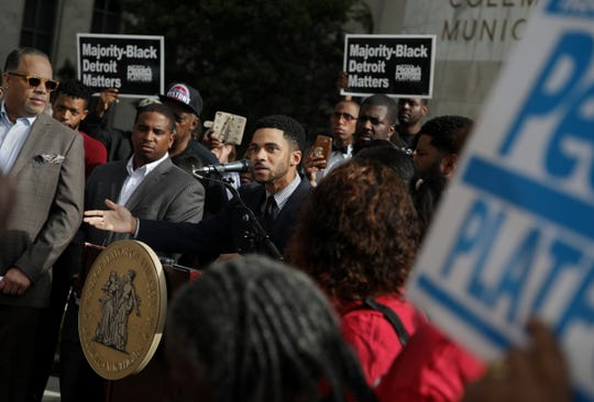 Damion Ellis speaks during the introduction of a package of legislations called the People's Bills by Detroit City Council President Pro Tempore Mary Sheffield on Monday, September 17, 2018 in front of the Coleman A. Young Municipal Center in Detroit.