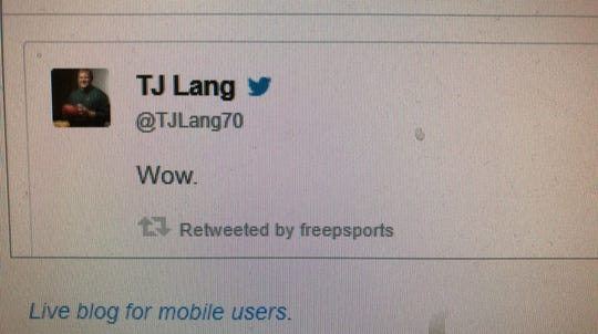 T.J. Lang reacted on Twitter after Tracy Walker's interception was called back.