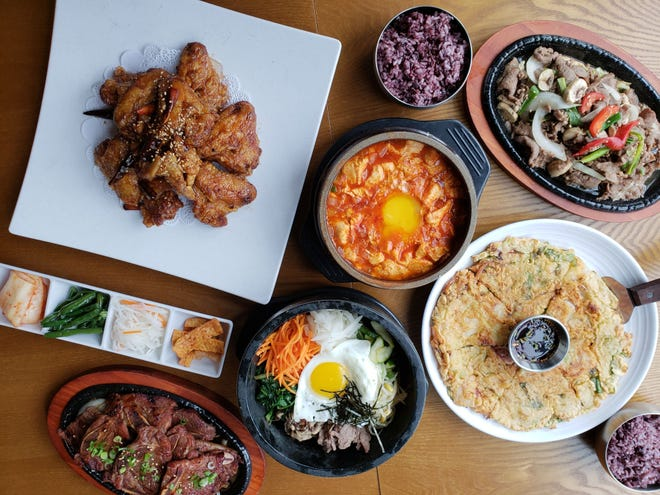 A spread of Korean fare from Jinji, a Korean restaurant and soju bar inside the New Seoul Plaza in Southfield.
