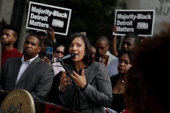Detroit City Council President Pro Tempore Mary Sheffield is joined by community advocates to announce the introduction of a package of legislations called the People's Bills on Monday, September 17, 2018 in front of the Coleman A. Young Municipal Center in Detroit.