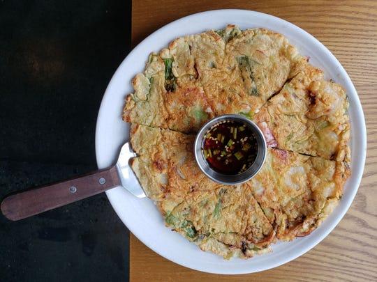 Haemul pajeon -- seafood pancake -- from Jinji, a Korean restaurant and soju bar inside the New Seoul Plaza in Southfield.