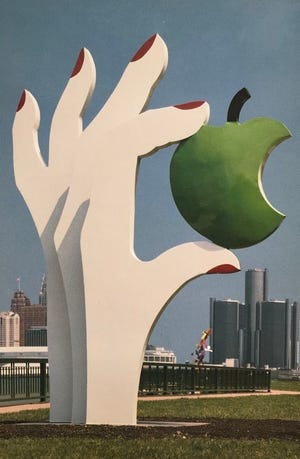 Eve's Apple, painted by Sir Winston Churchill's granddaughter, Edwina Sandys, is a painted steel structure on display in Windsor's Sculpture Garden.