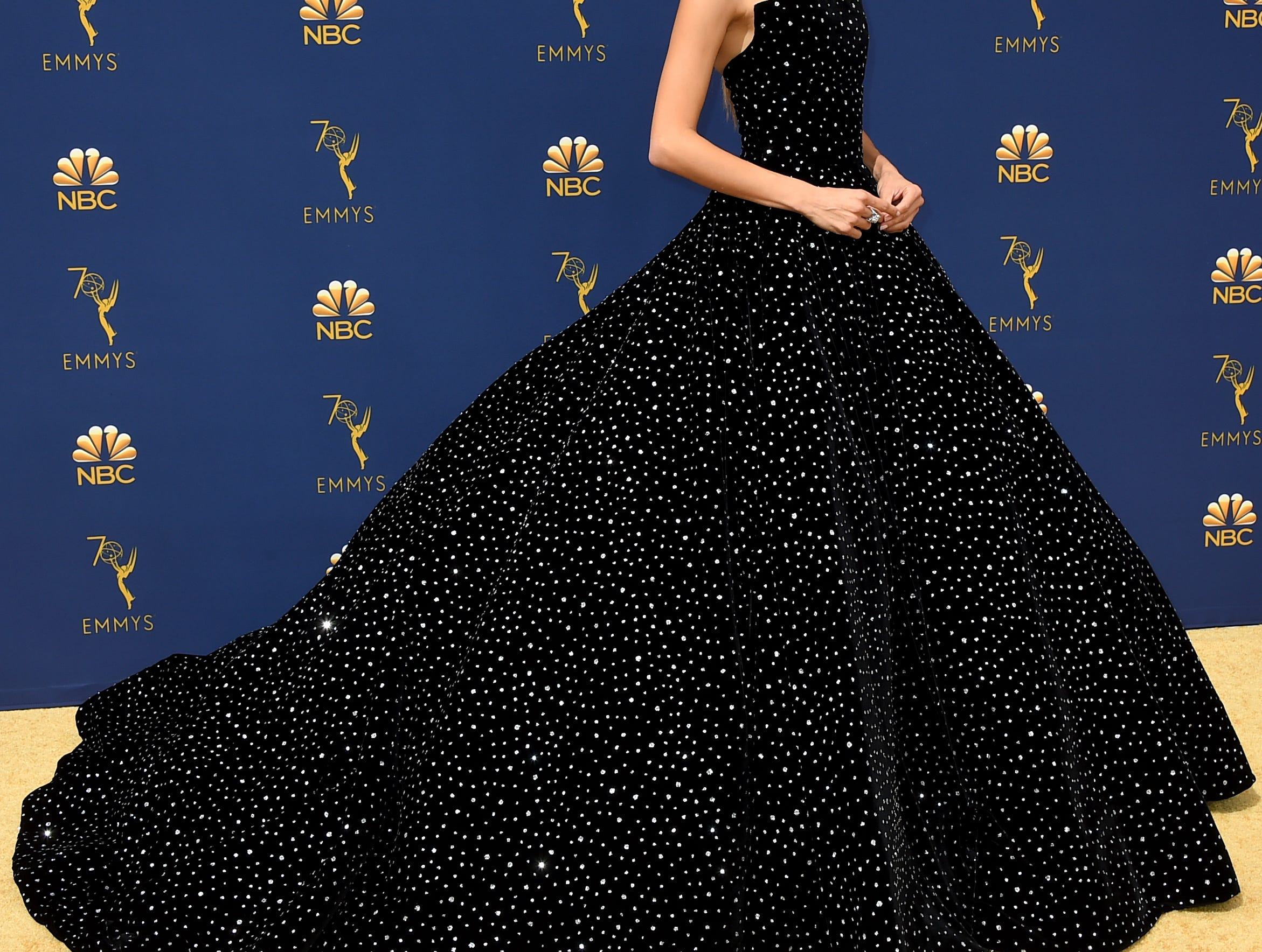 Angela Sarafyan arrives at the 70th Primetime Emmy Awards on Monday, Sept. 17, 2018, at the Microsoft Theater in Los Angeles.