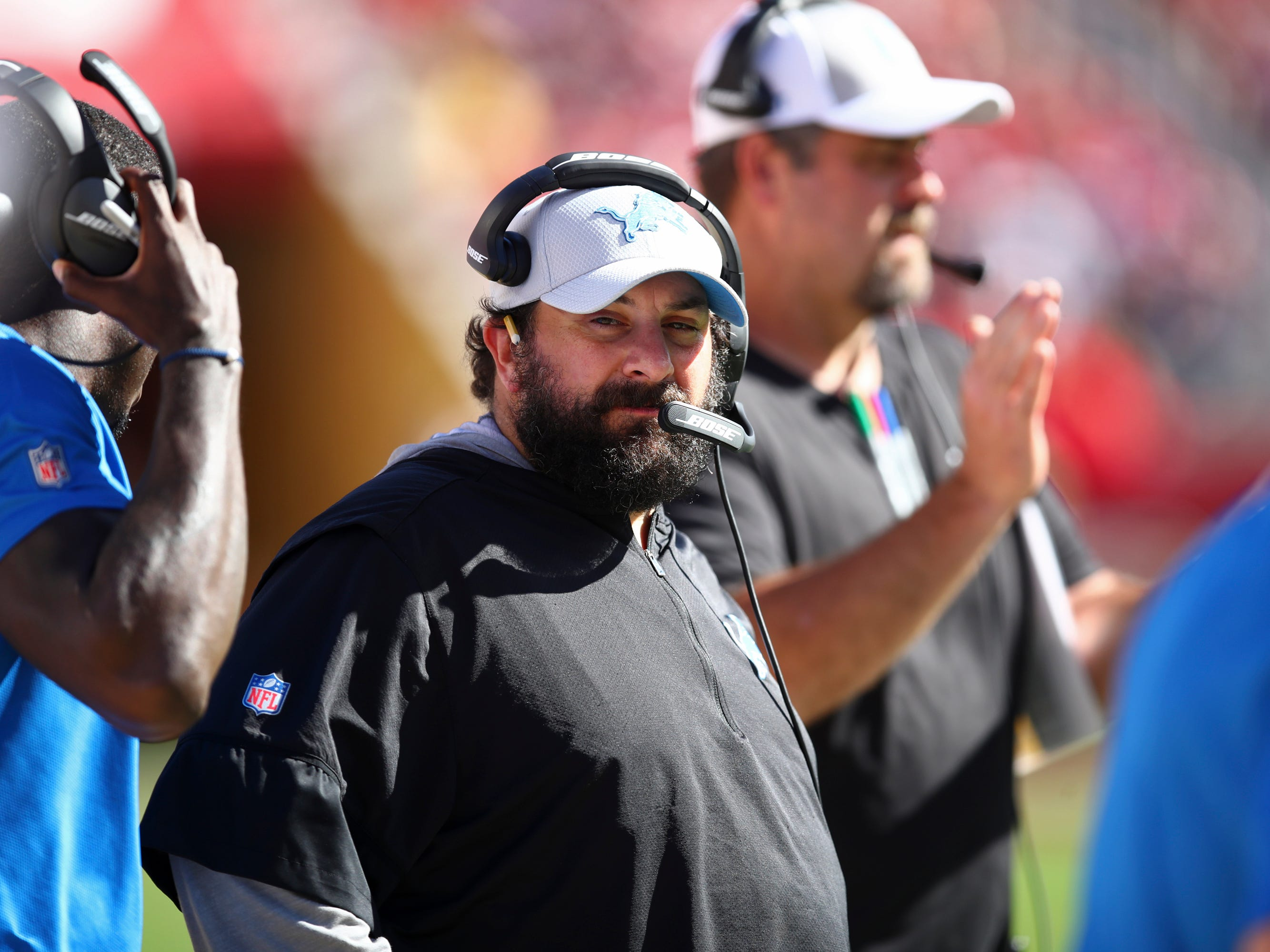 Detroit Lions head coach Matt Patricia stands on the sidelines during the second half.