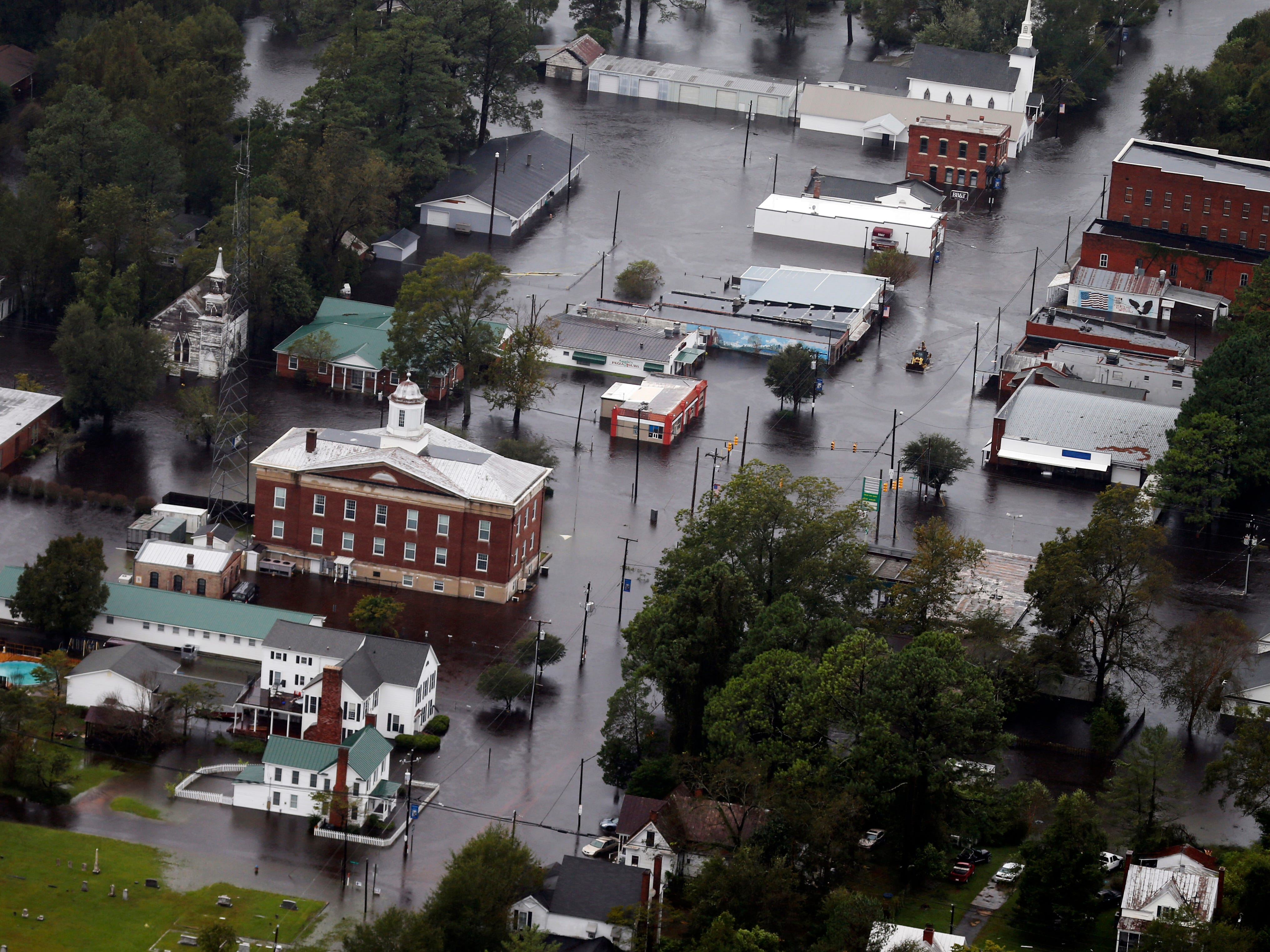 Floodwaters from Hurricane Florence inundate the town of Trenton, N.C., Sunday, Sept. 16, 2018.
