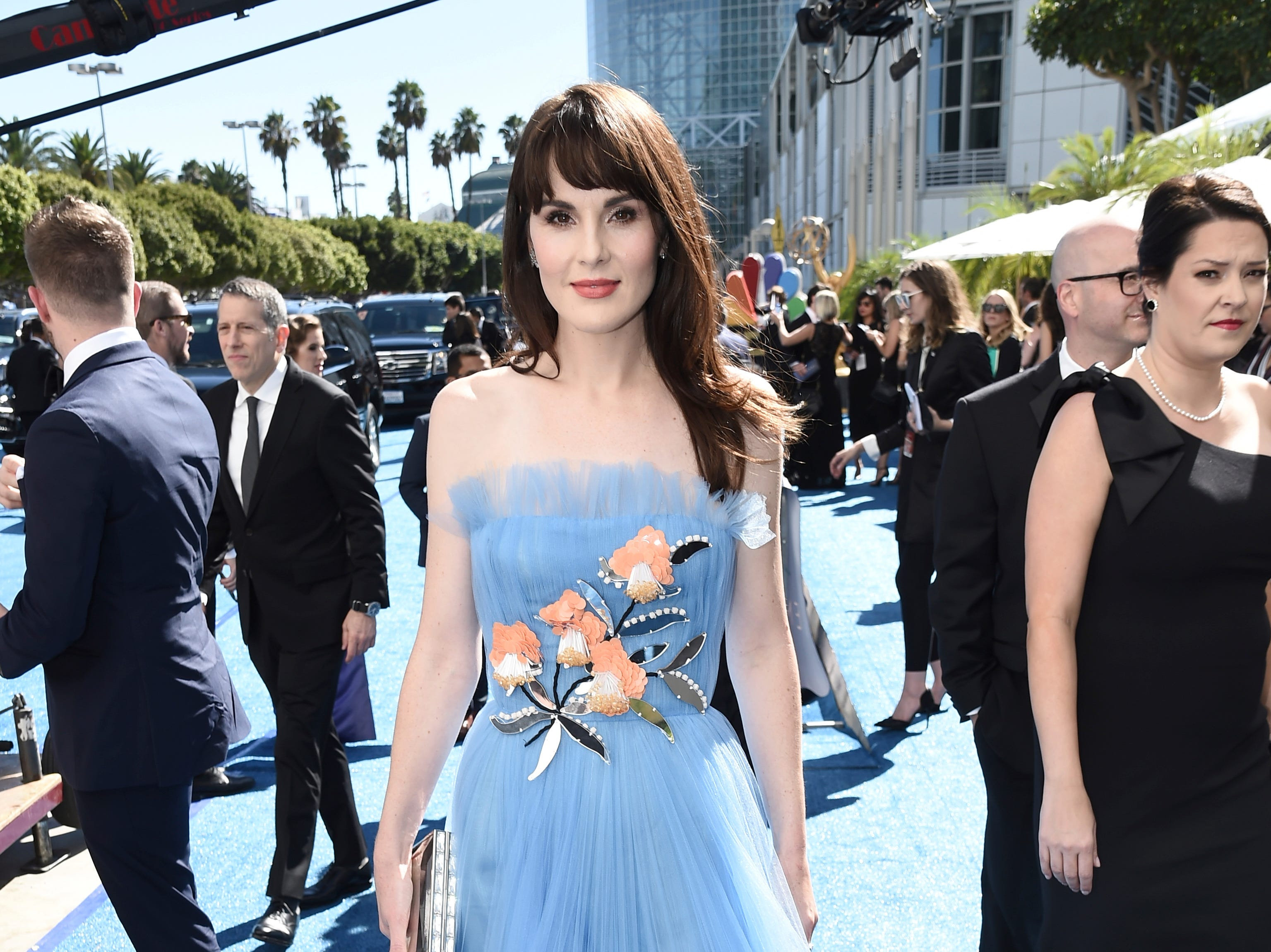 Michelle Dockery arrives at the 70th Primetime Emmy Awards on Monday, Sept. 17, 2018, at the Microsoft Theater in Los Angeles.