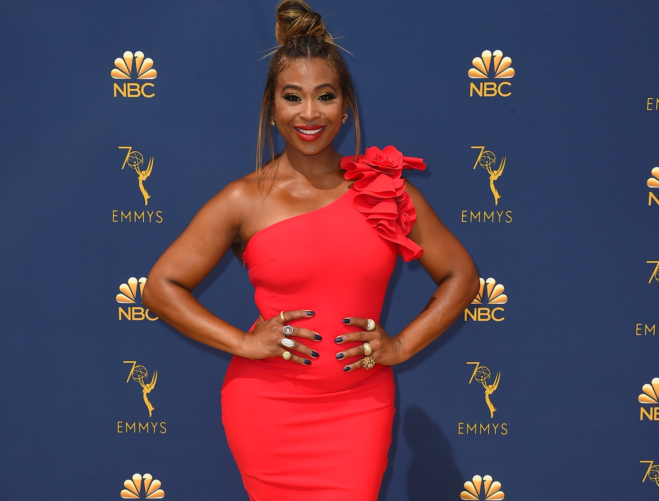 Tanika Ray arrives at the 70th Primetime Emmy Awards on Monday, Sept. 17, 2018, at the Microsoft Theater in Los Angeles.