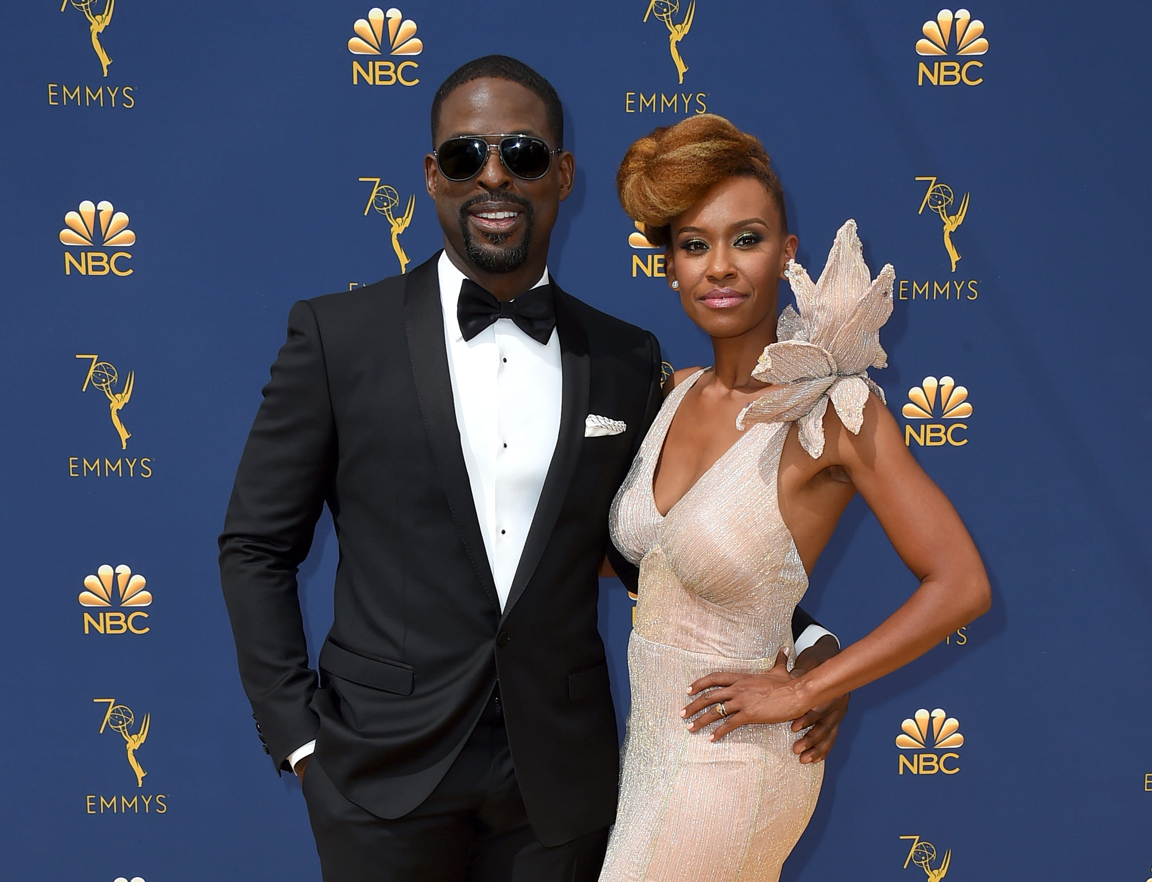 Sterling K. Brown, left, and Ryan Michelle Bathe arrive at the 70th Primetime Emmy Awards on Monday, Sept. 17, 2018, at the Microsoft Theater in Los Angeles.