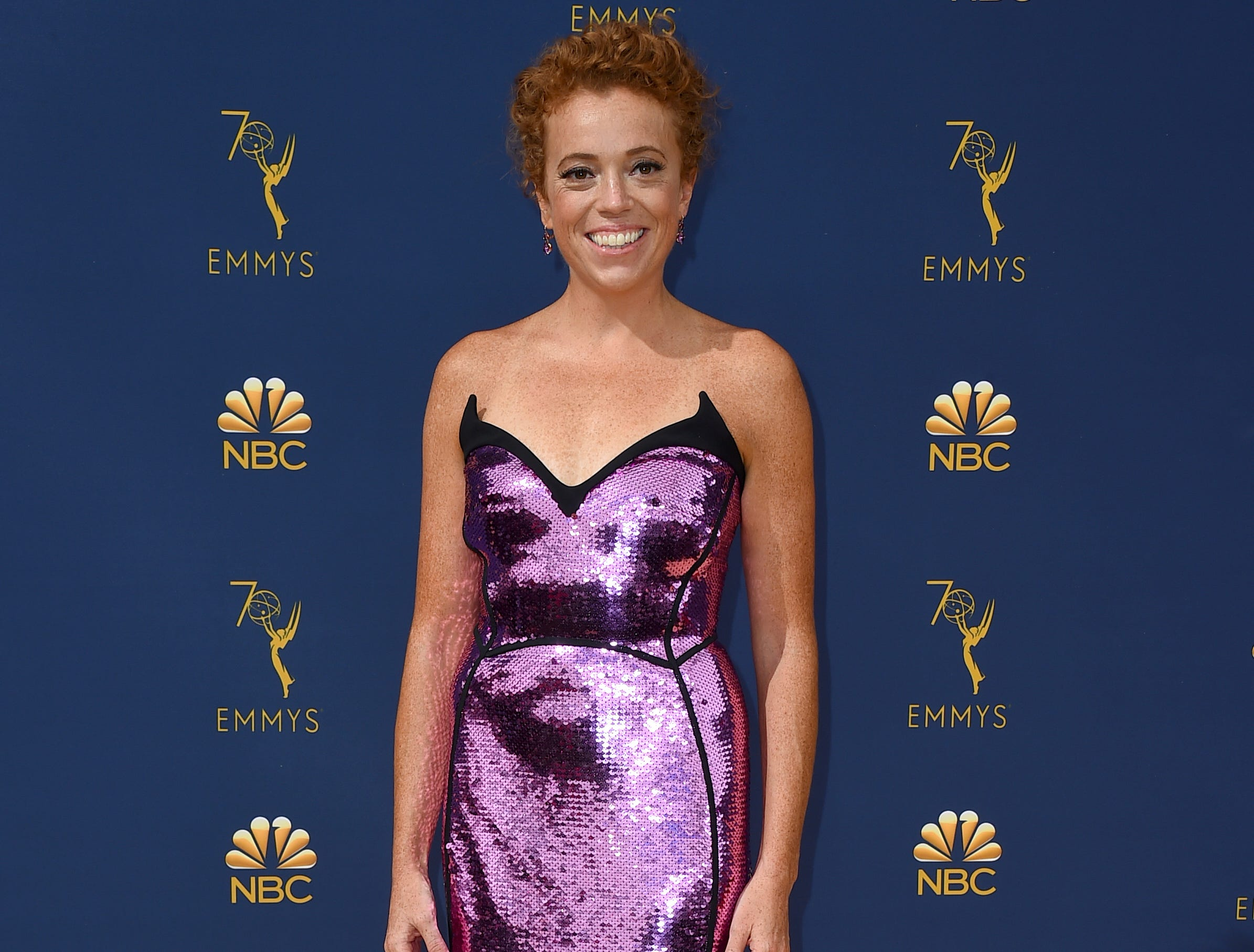 Michelle Wolf arrives at the 70th Primetime Emmy Awards on Monday, Sept. 17, 2018, at the Microsoft Theater in Los Angeles.