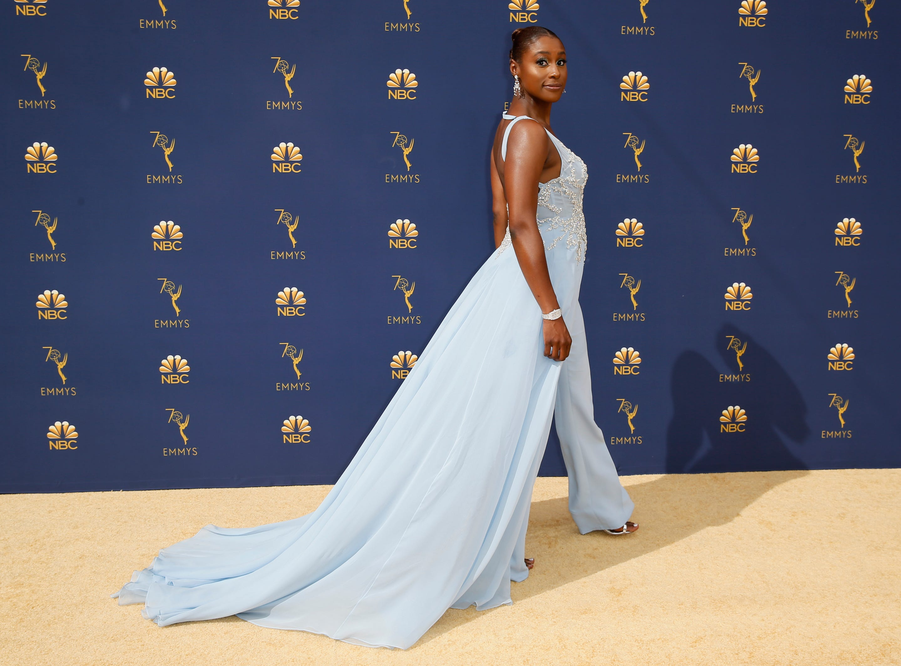 Issa Rae arrives at the 70th Primetime Emmy Awards on Monday, Sept. 17, 2018, at the Microsoft Theater in Los Angeles.