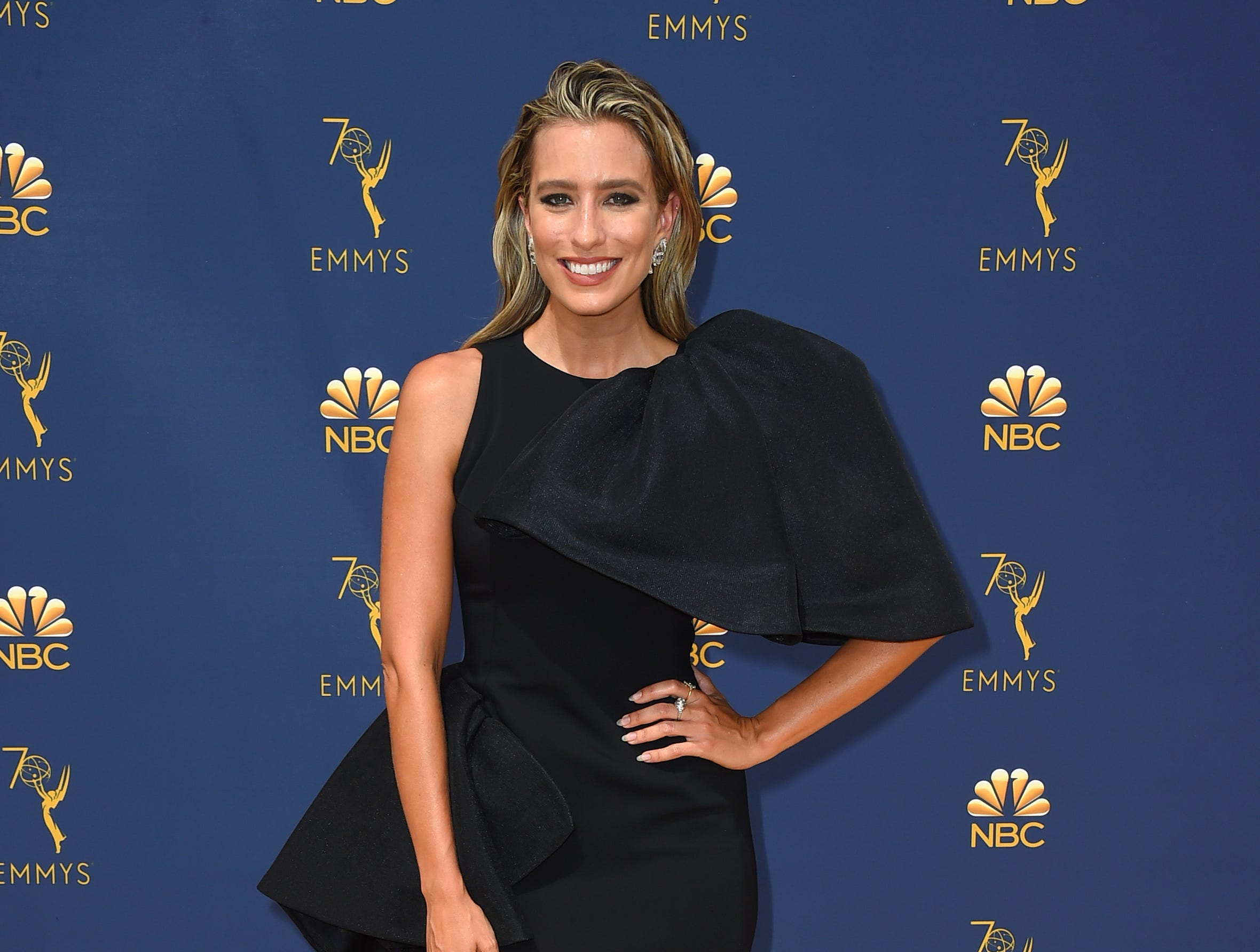 Renee Bargh arrives at the 70th Primetime Emmy Awards on Monday, Sept. 17, 2018, at the Microsoft Theater in Los Angeles.