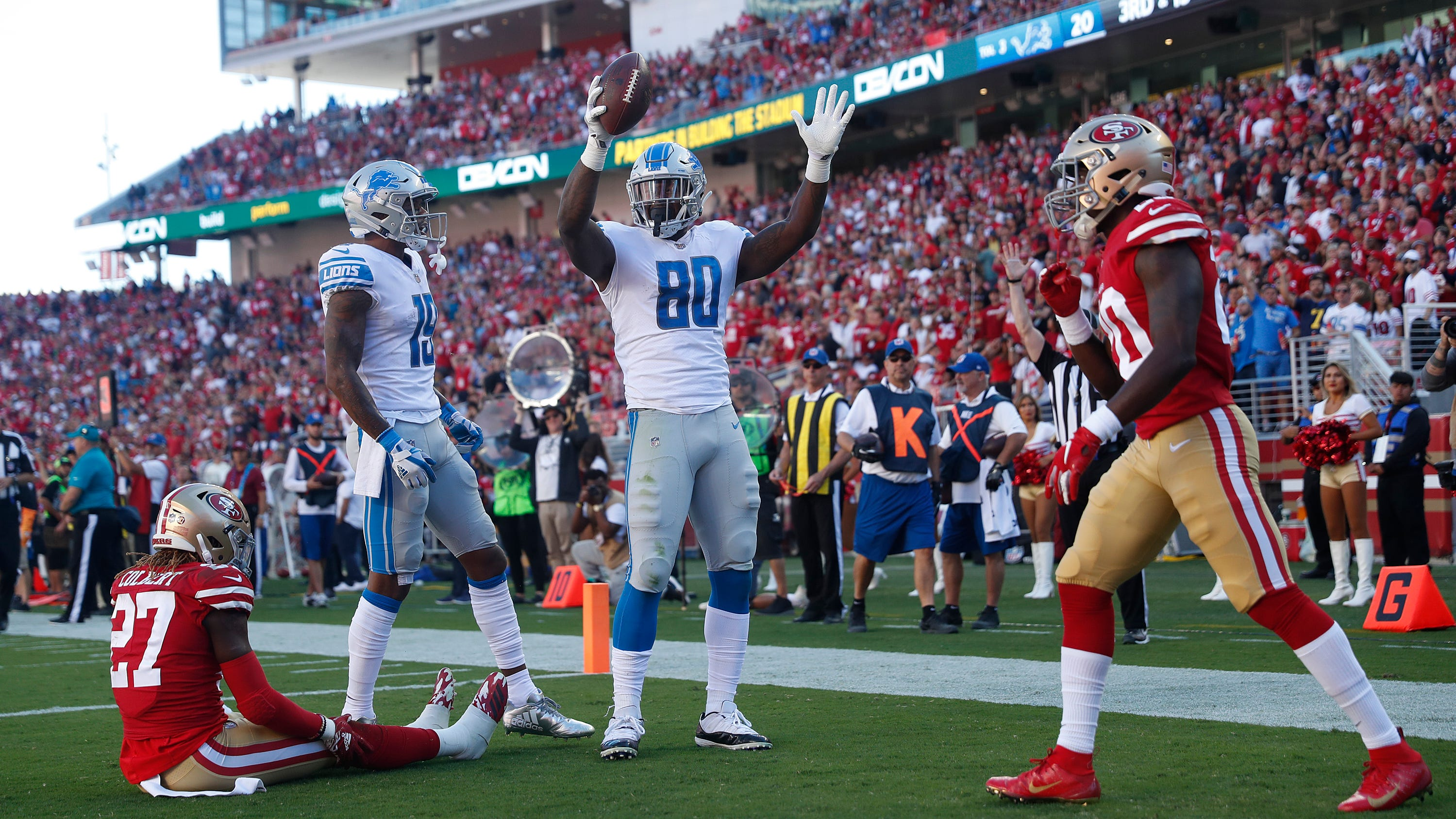 Lions tight end Roberts relishes end of scoreless streak