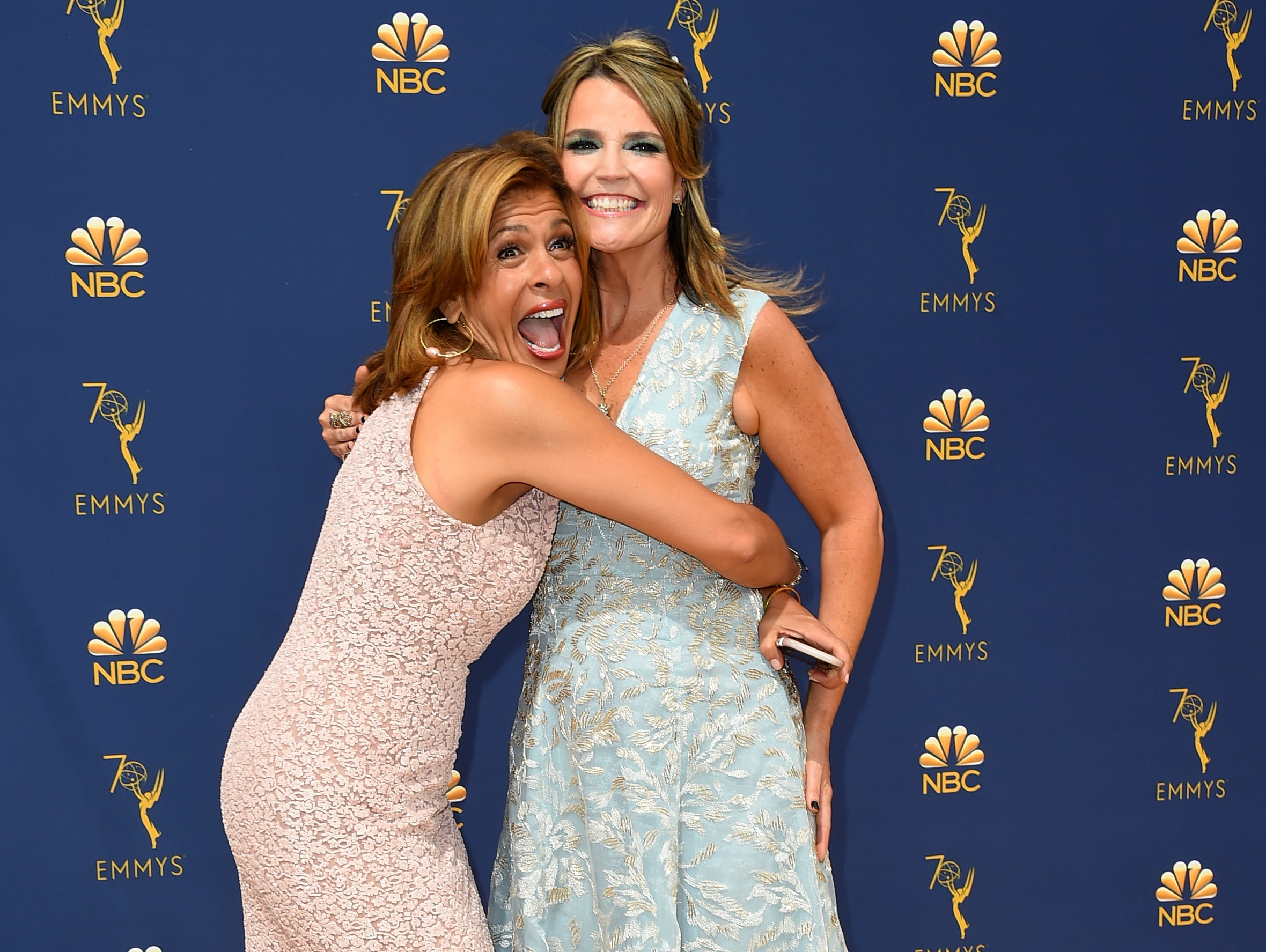 Hoda Kotb, left, and Savannah Guthrie arrive at the 70th Primetime Emmy Awards on Monday, Sept. 17, 2018, at the Microsoft Theater in Los Angeles.