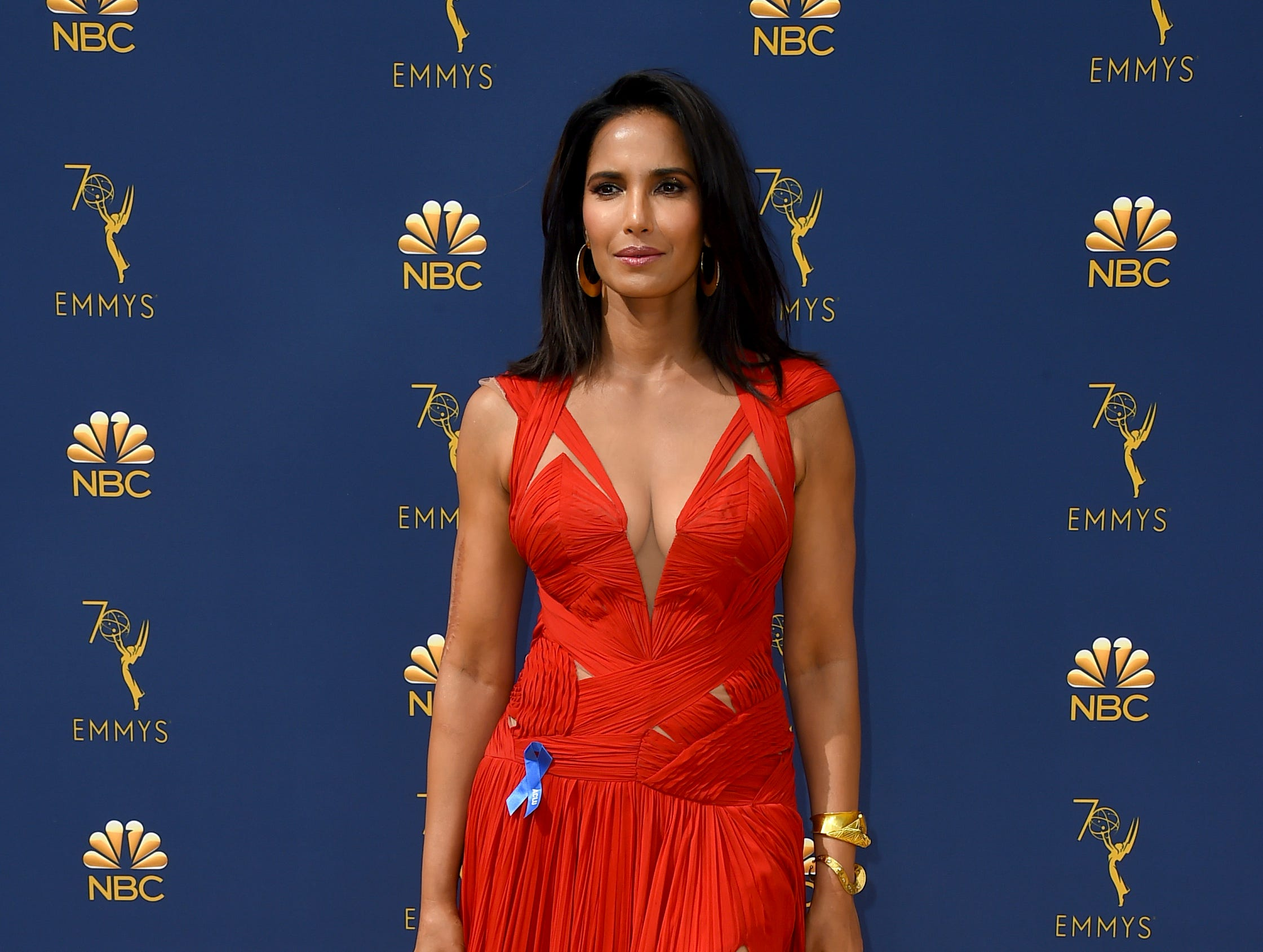 Padma Lakshmi arrives at the 70th Primetime Emmy Awards on Monday, Sept. 17, 2018, at the Microsoft Theater in Los Angeles.
