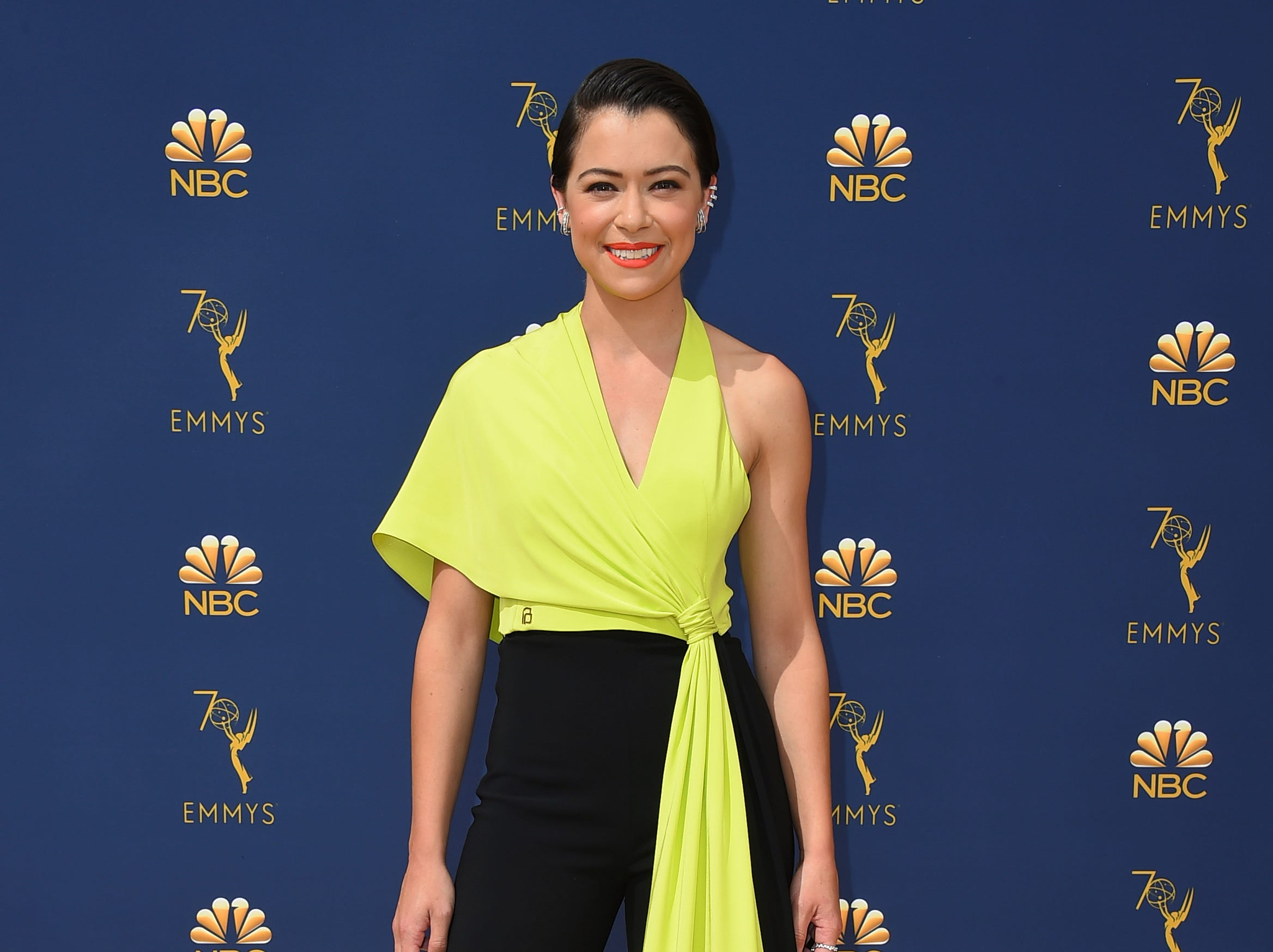 Tatiana Maslany arrives at the 70th Primetime Emmy Awards on Monday, Sept. 17, 2018, at the Microsoft Theater in Los Angeles.