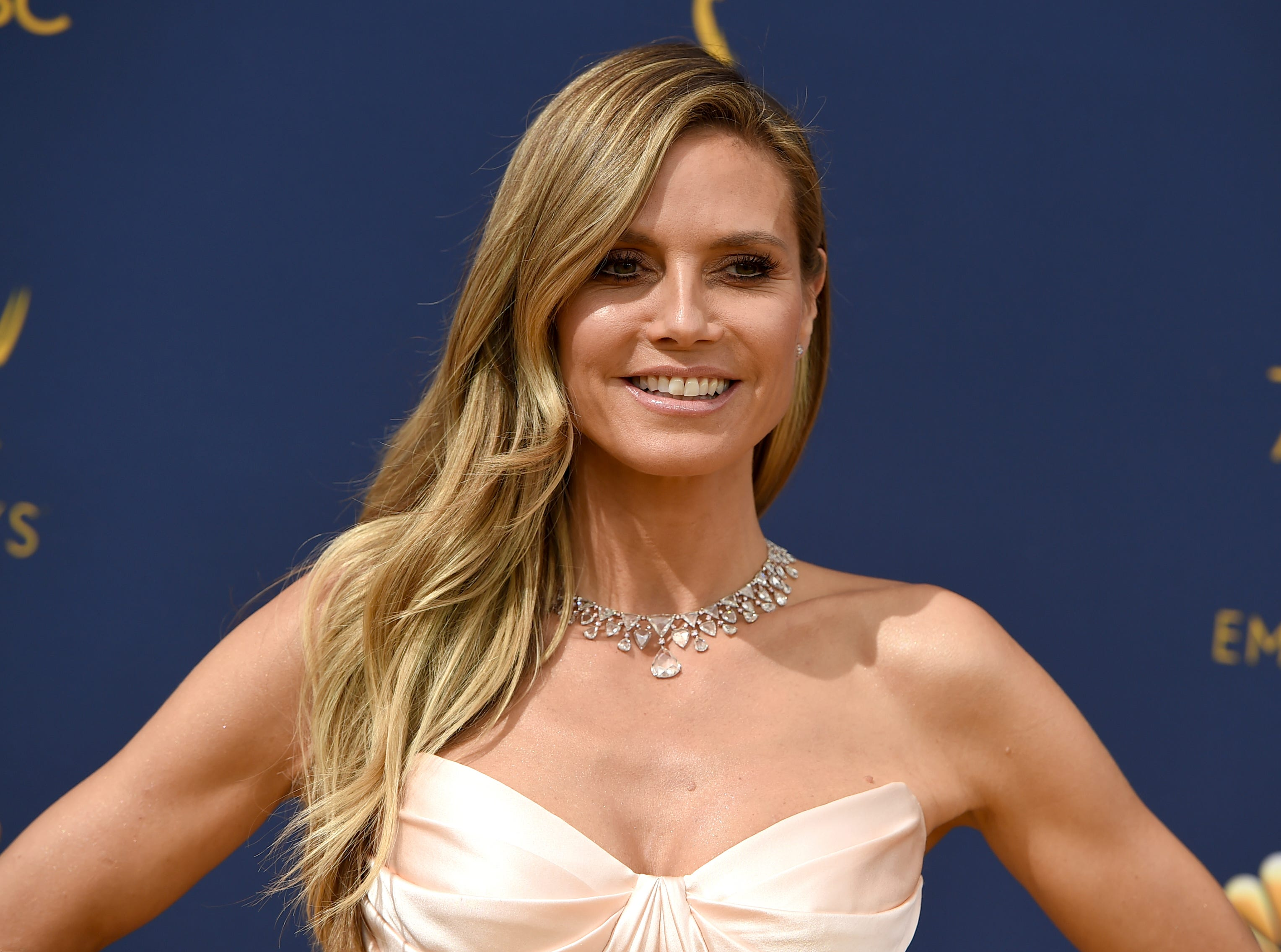 Heidi Klum arrives at the 70th Primetime Emmy Awards on Monday, Sept. 17, 2018, at the Microsoft Theater in Los Angeles.