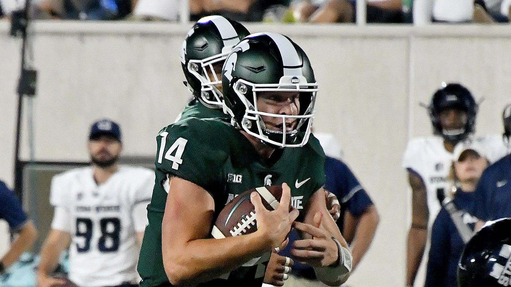 Michigan State quarterback Brian Lewerke is completing 69.4 percent of his passes through two games this season.
