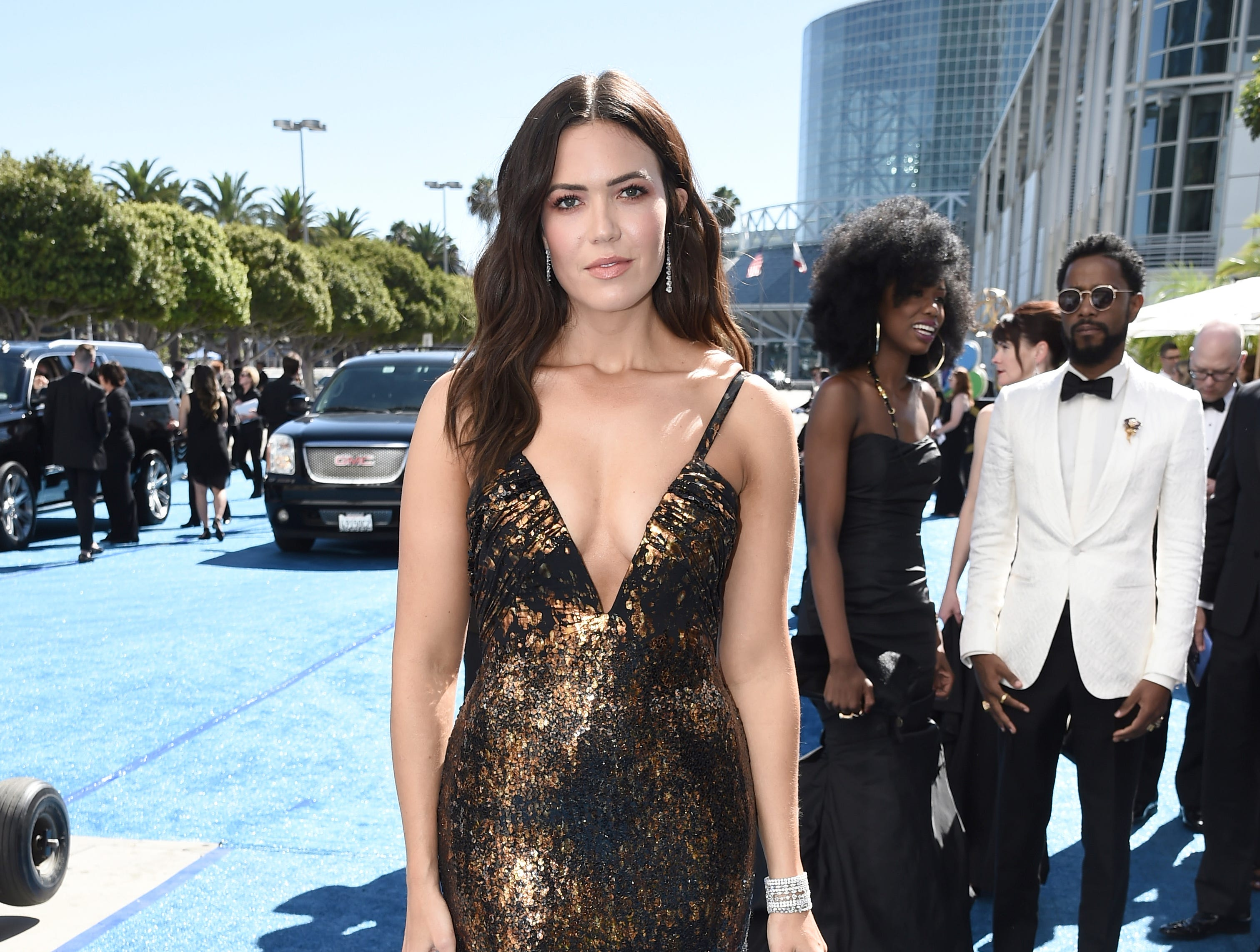 Mandy Moore arrives at the 70th Primetime Emmy Awards on Monday, Sept. 17, 2018, at the Microsoft Theater in Los Angeles.