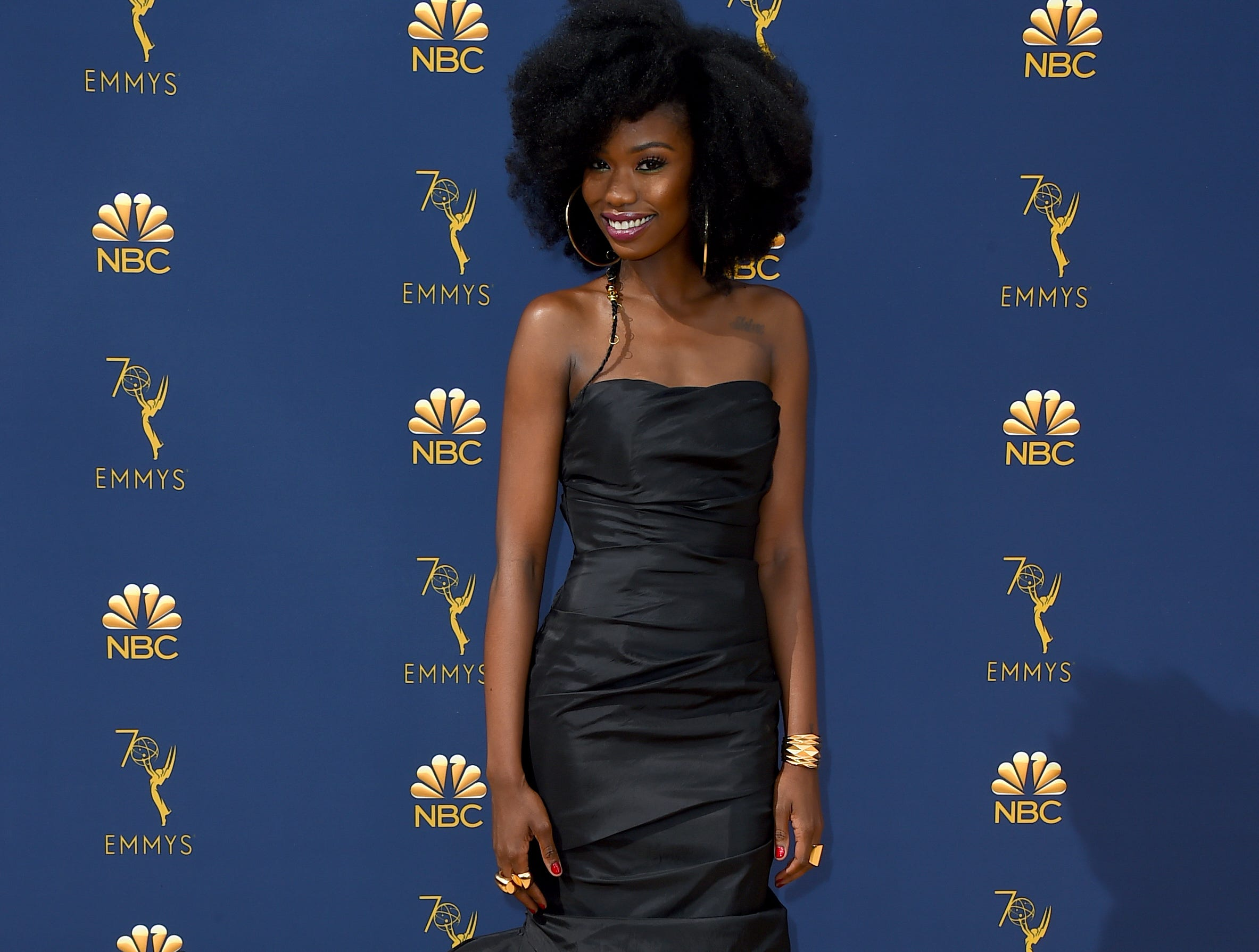 Xosha Roquemore arrives at the 70th Primetime Emmy Awards on Monday, Sept. 17, 2018, at the Microsoft Theater in Los Angeles.