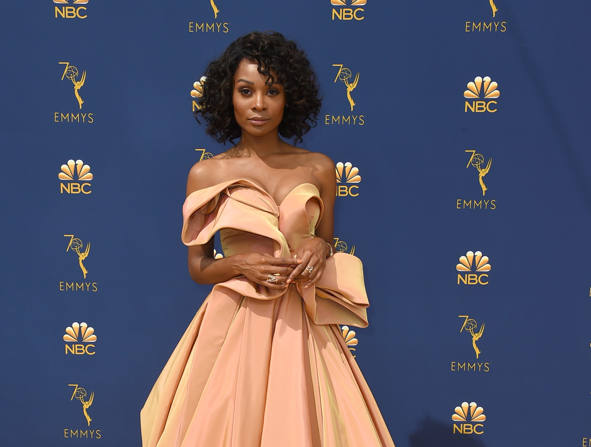 Zuri Hall arrives at the 70th Primetime Emmy Awards on Monday, Sept. 17, 2018, at the Microsoft Theater in Los Angeles.