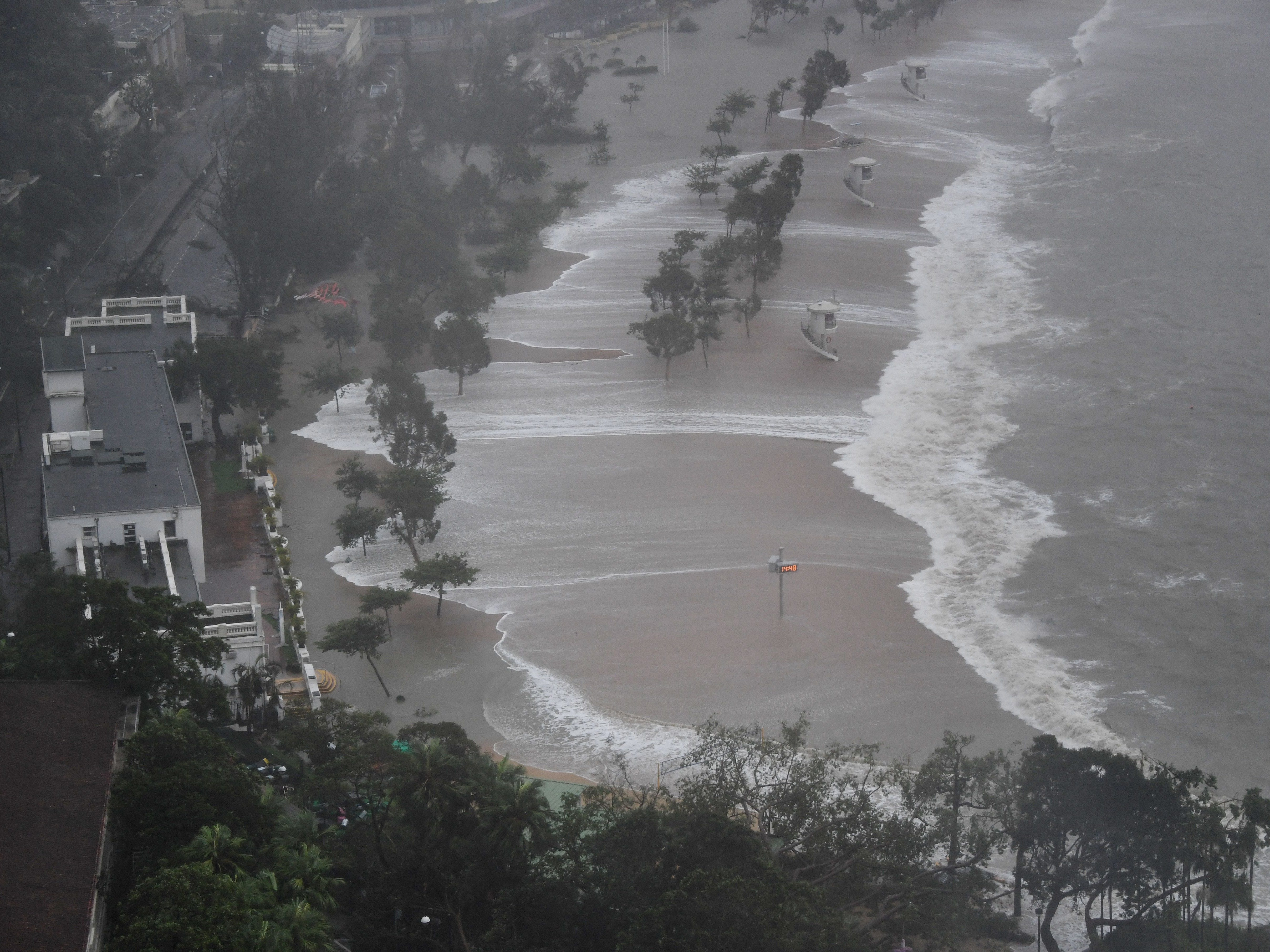 Large waves hit Repulse Bay beach during Super Typhoon Mangkhut in Hong Kong on Sept. 16, 2018.