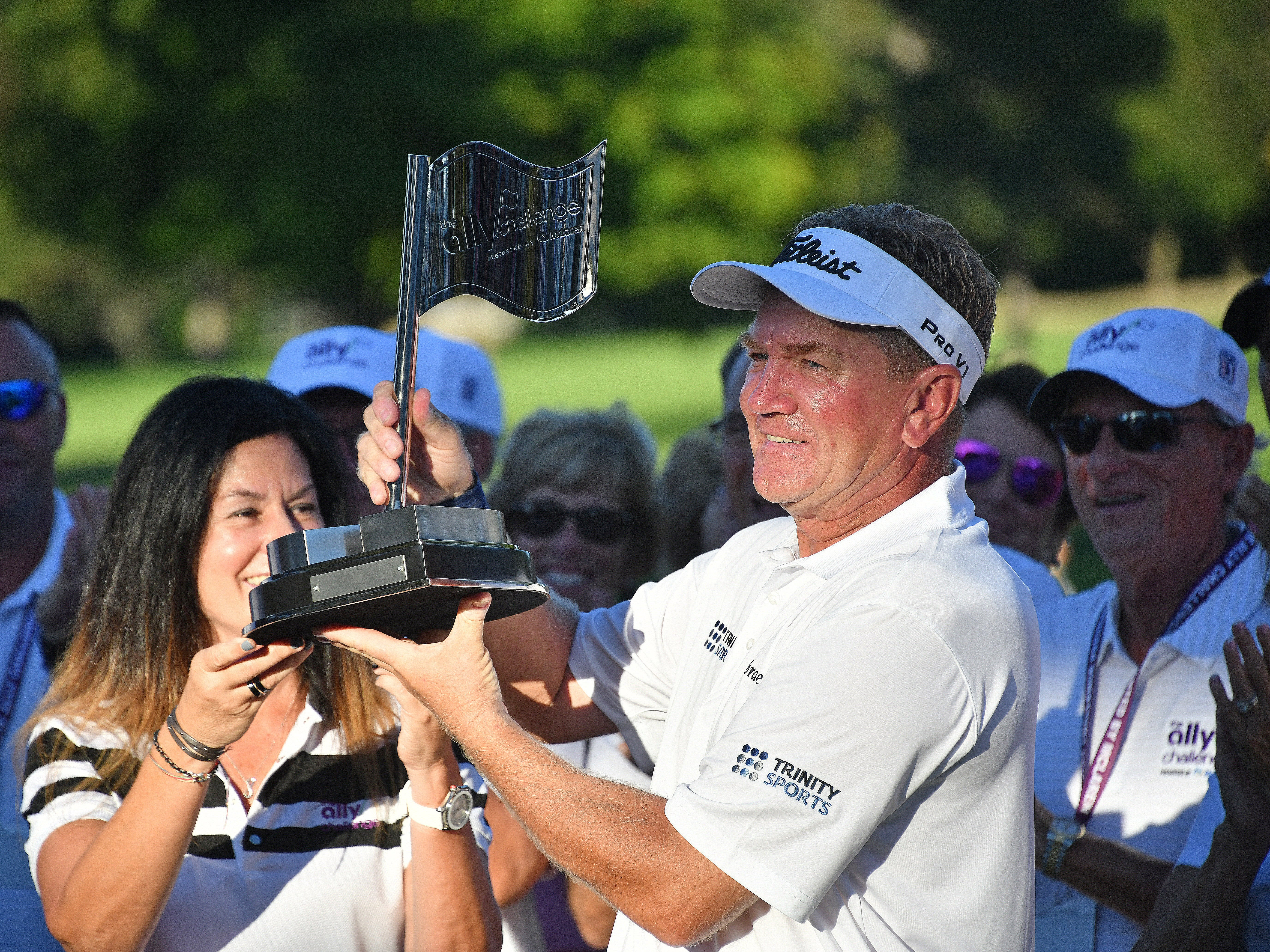 Paul Broadhust wins the Ally Challenge played at Warwick Hills Golf and Country Club in Grand Blanc on Sunday, Sept 16, 2018, with a birdie putt that sealed the deal on the 18th hole. (Dale G.Young/Detroit News) 2018.