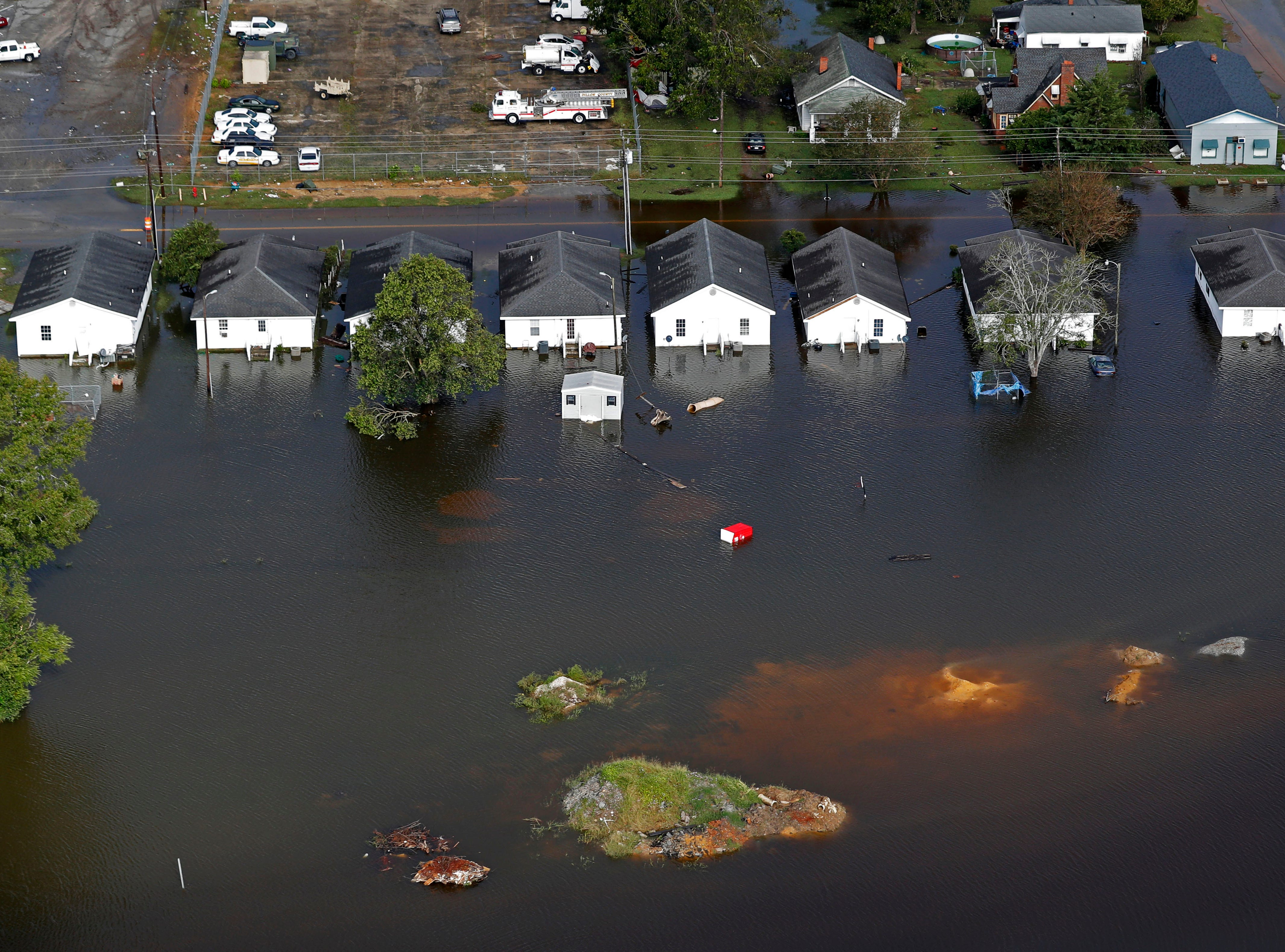 Floodwater from Hurricane Florence threatens homes in Dillon, S.C., Monday, Sept. 17, 2018.