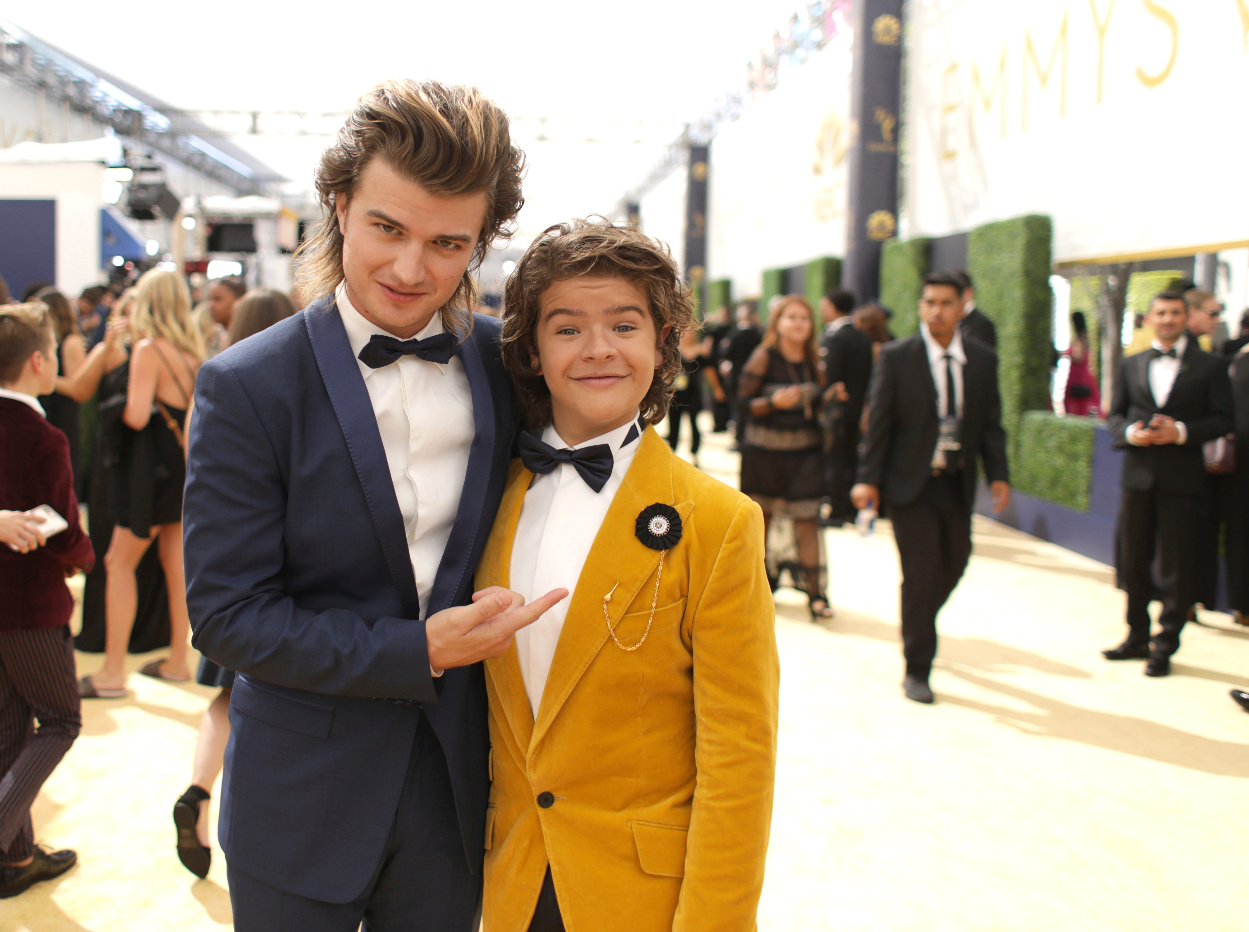 Joe Keery, left, and Gaten Matarazzo at the 70th Primetime Emmy Awards on Monday, Sept. 17, 2018, at the Microsoft Theater in Los Angeles.
