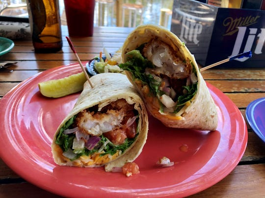The sweet shrimp wrap with coconut shrimp from Woody's Waterside on Pine Island.