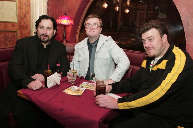 """""""Trailer Park Boys"""" stars John Paul Tremblay, from left, Mike Smith and Robb Wells pose at the 2008 after-party for the premiere of """"Trailer Park Boys: The Movie."""""""