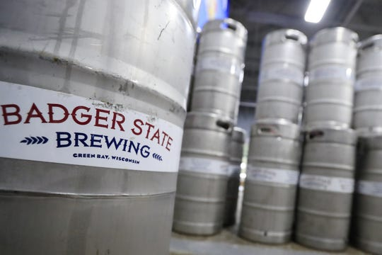 Kegs are shown at Badger State Brewing in Green Bay on Monday.