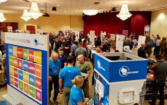 Representatives from the Wisconsin Department of Workforce Development, the Wisconsin Department of Veterans Affairs, and the Wisconsin Economic Development Corporation attend a military transition summit at Camp Pendleton last month.