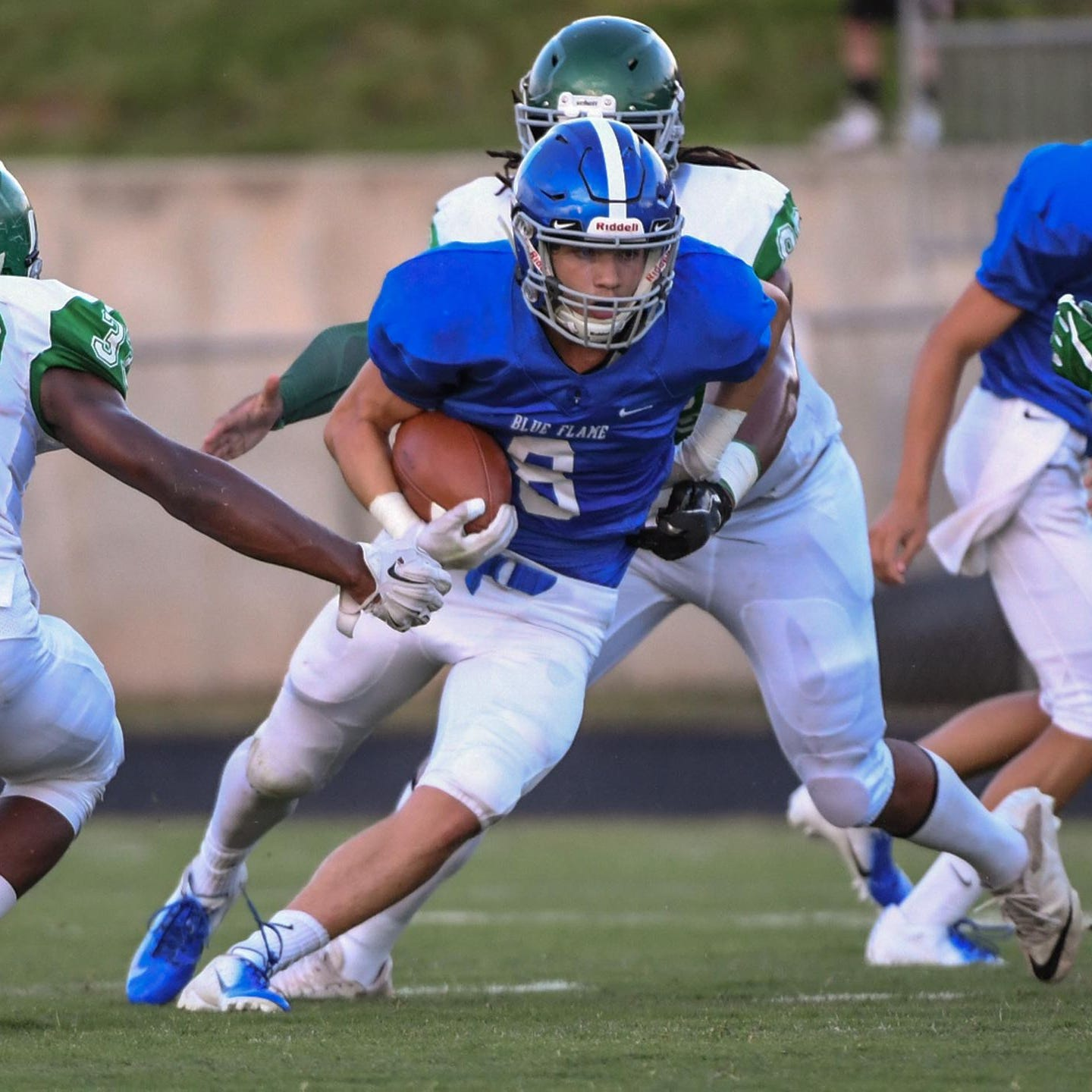 Pickens running back Jarod Barton rushed for 160 yards with two touchdowns in the Blue Flame's 44-13 win over Berea.