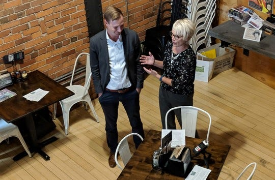"""Montana Department of Agriculture Director Ben Thomas and Department of Commerce Director Pam Haxby-Cote help kick off """"Taste our Place"""" at Mighty Mo Brewing in Great Falls."""