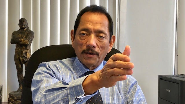 Newly elected Public Auditor Benjamin Cruz gestures on Sept. 17, 2018 as he talks about cost-cutting measures, including laying off two probationary and three unclassified employees from the Office of Public Accountability because the agency budget is only about $1.2 million and personnel costs alone reached $1.3 million.