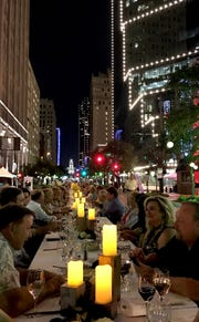 Main Table event in Fort Worth, Texas features hundreds of people having dinner at a long table along Main Street in Downtown Fort Worth. Westfield will host a similar event, Dinner Party on Union. Sept. 22, 2018.