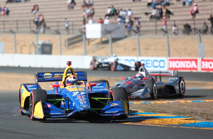 Alexander Rossi makes his way through the turns during his last race of the 2018 Verizon IndyCar Series Sunday, Sept. 16, 2018 in Sonoma, Calif.
