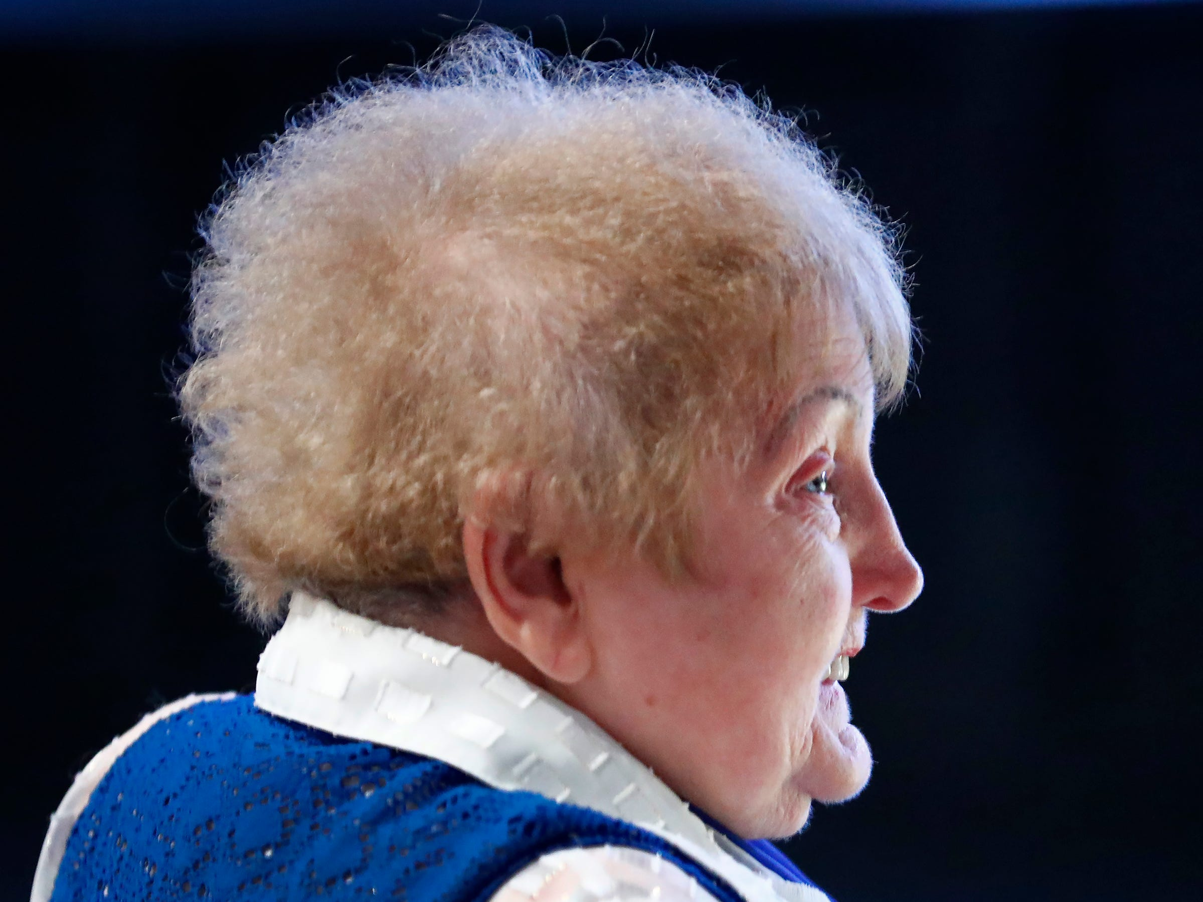 """Holocaust survivor Eva Kor smiles at Newfields, Monday, Sept. 17, 2018.  Students viewed the documentary """"Eva,"""" about Kor, and then helped in the planting of the Eva Kor Peace Garden.  Kor also spoke with the students, asking them to think of one thing to make the world better."""