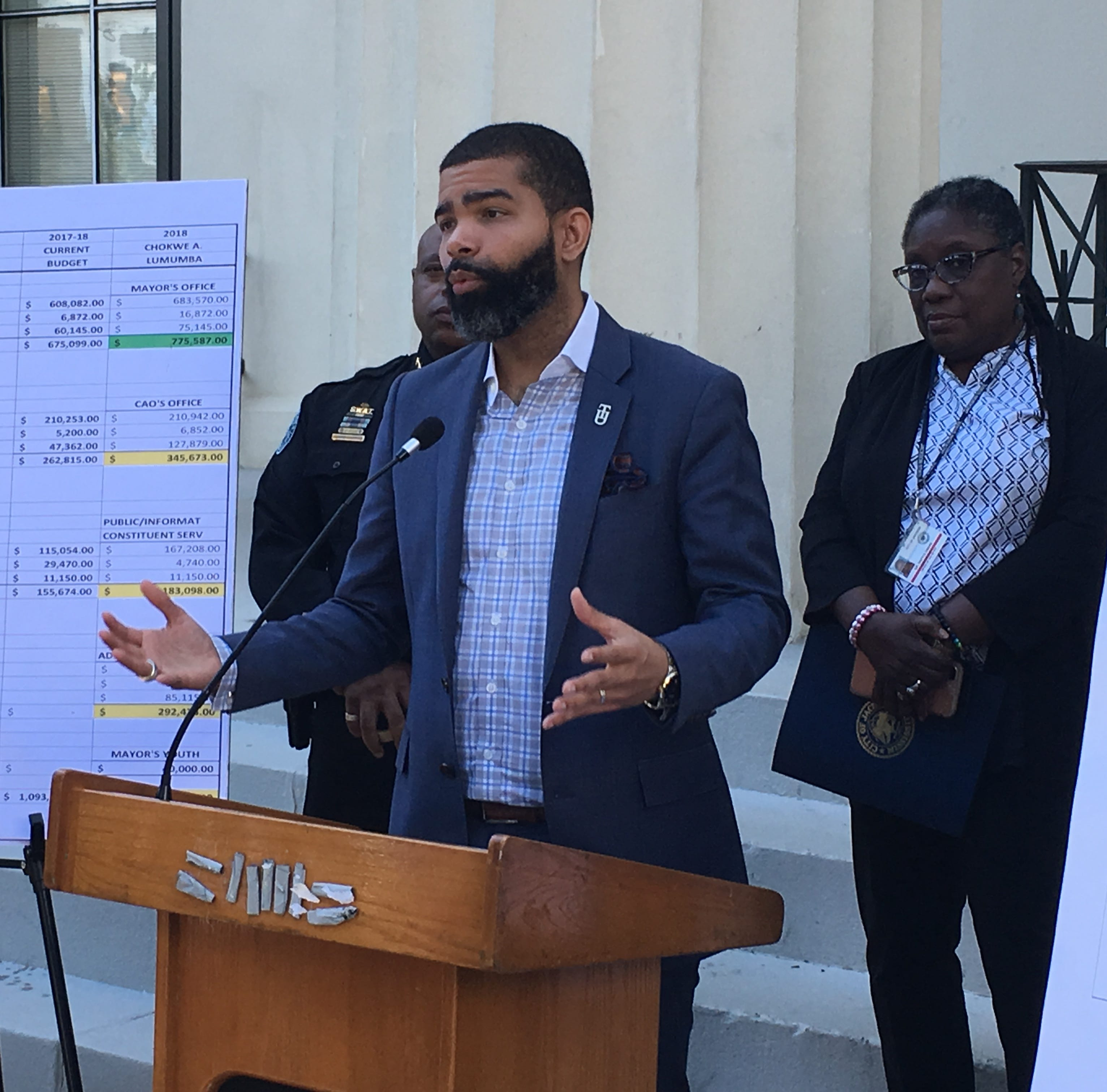Jackson Mayor Chokwe Antar Lumumba highlights the administration's proposed budget for the next fiscal year at a press conference on Aug. 31, 2018.